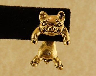 Vintage Gold plated pewter 3D Pig EARlusion earrings