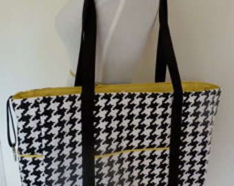 Boxy Bag - Tote - Diaper Bag - Black and White - Houndstooth - Bridesmaid Gift - Teacher Gift - Gift for New Mom