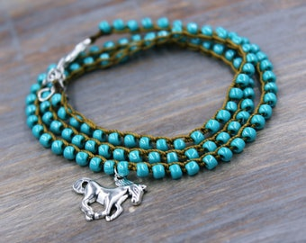 Equestrian Jewelry / Horse Charm Bracelet / Horse Lover Gift / Gift for Horse Lover / Pet Memorial Jewelry / Horse Gifts / Turquoise