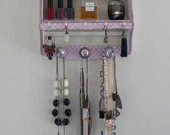 Organizer, shelf - Shabby chic pink polka dots and pink and white patina