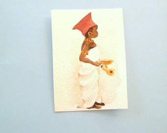 Zulu woman in original art,  miniature watercolor,  aceo size art,  small format art, South African scene, mini tribal art