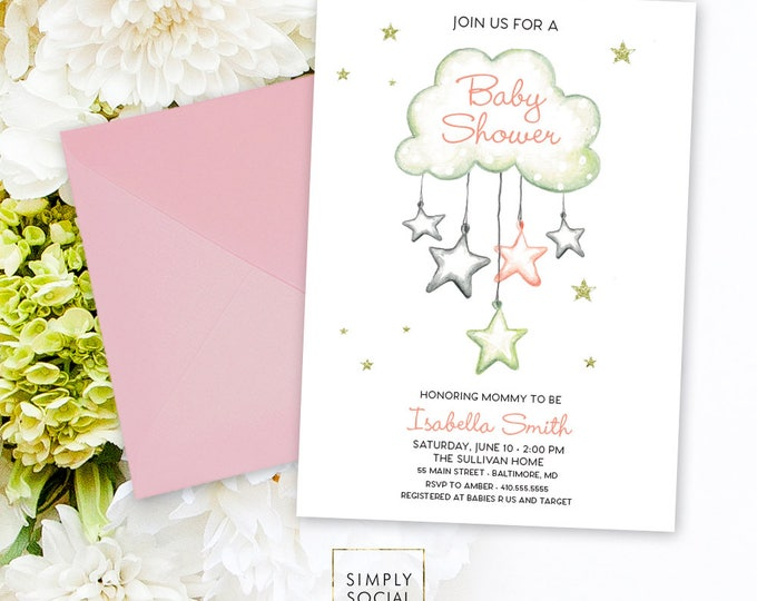 Cloud Raindrops Baby Shower Invitation - Baby Sprinkle It's a Girl Watercolor Stars Modern Baby Shower Pink and Grey Printable