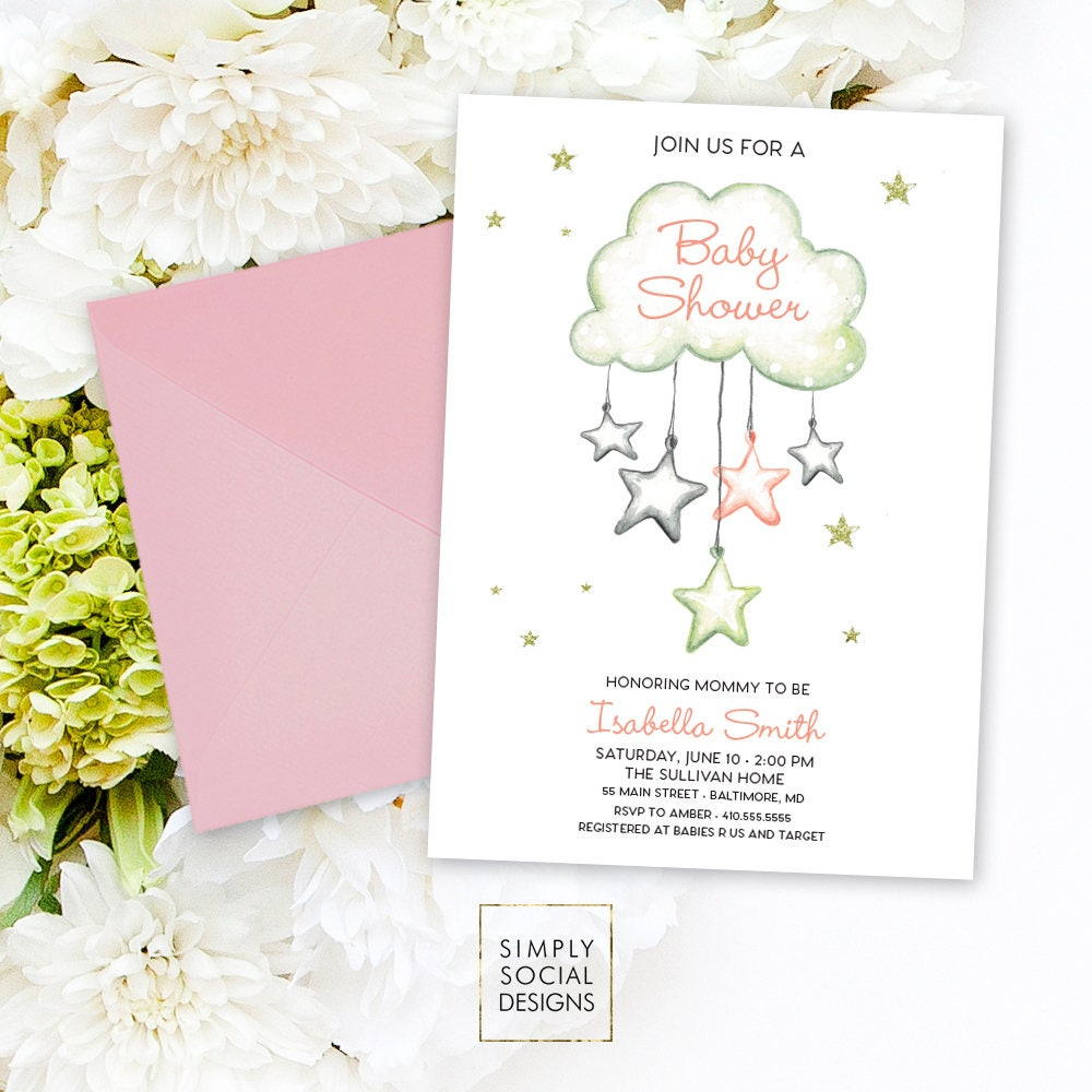 Cloud Raindrops Baby Shower Invitation - Baby Sprinkle It\'s a Girl ...