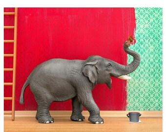 30% OFF SALE Elephant animal art print: Big Job