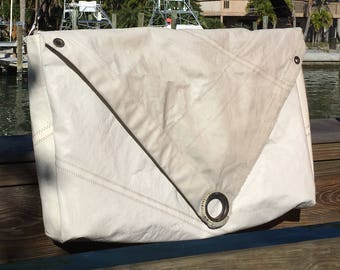 XLG Cross Body Rustic Messenger Sailcloth Bag with flap top with handstitched grommet