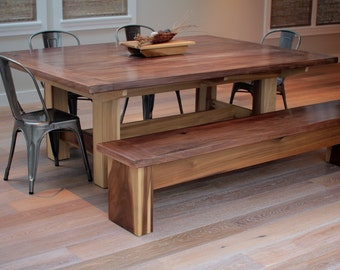Walnut Top Trestle Dining Conference Table // Minimalist Modern //  Japanese Inspired Design