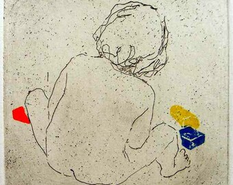 "Original art print ""Bricks"". Etching, colour added with application of linocut. 10x10 cm. Child playing with bricks."