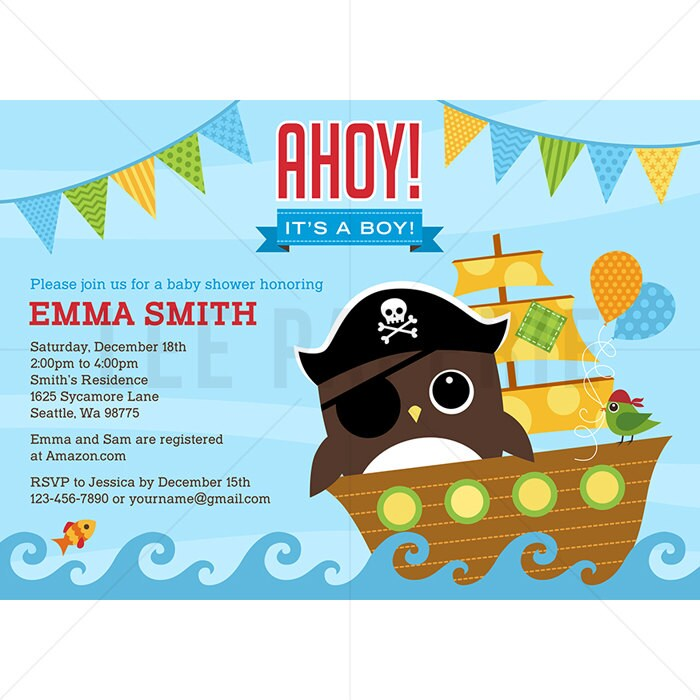 BSB001 Owl Baby Shower Invitation Owl Pirate Baby Shower