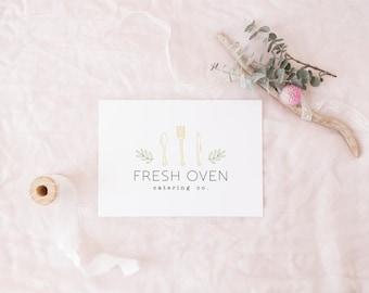 premade logo design · organic cutlery · catering logo · food business logo · green leaf laurel · small business logo · restaurant branding