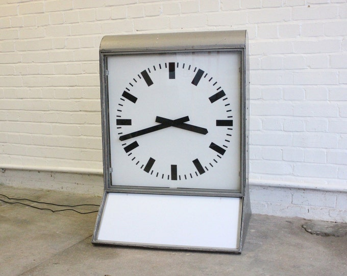 Large Light Up Double Sided Shop Clock Circa 1960's