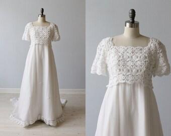 1960s Wedding Dress / Empire Waist / Sheath / Chapel Train / Elizabeth