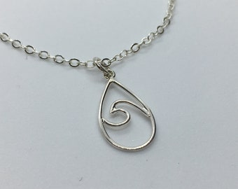 Sterling Silver Ocean Wave Outline Necklace, Sea Jewelry, Beach Life Art! Custom Chain Length, Gift Bagged. Makes A Unique Gift!