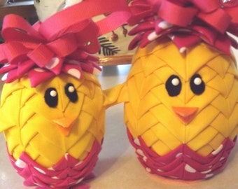 """4"""" Easter Chick Quilted Ornament"""