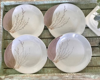 Willard George for Canonsburg Set of Four Bread and Butter Plates Pussy Willow Pattern Mid Century TYCAALAK