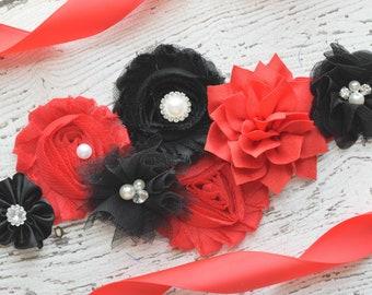Maternity sash, red black sash , Flower belt Sash, flower girl sash, wedding sash,flower Belt, maternity sash