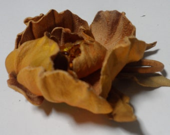 Light brown autumn color natural leather brooch flower pin