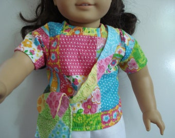 "18"" Doll Clothes 3 piece outfit top skirt shorts purse DYD015"