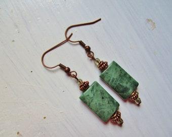 Jade copper earrings
