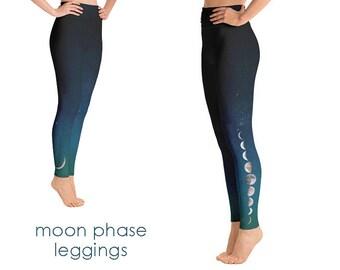 Moon Phase Yoga Leggings   Moon Phase Leggings   Moon Leggings   Yoga Pants  Moon Yoga Pants  Moon Yoga  galaxy yoga pants  space yoga pants