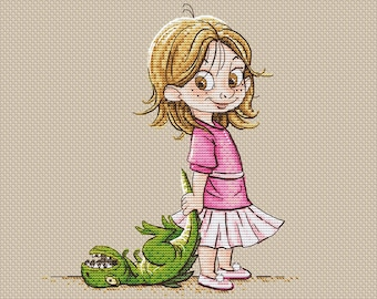 Girl with toy dinosaur pdf counted cross stitch pattern Girl with dinosaur instant download pdf pattern cross stitch for girl nursery decor