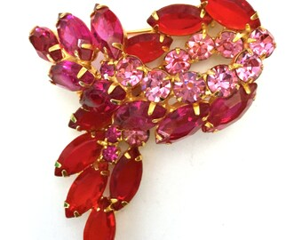 Juliana D&E Rhinestone Brooch, Red, Fuchsia and Pink, Layered Design, Vintage Jewelry, Statement Brooch, Wedding Jewelry, Special Occasion