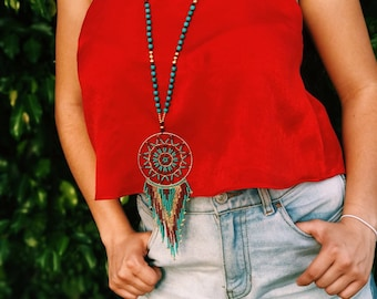 Boho Beaded Dream catcher Pendant necklace, Hippy Style, Free Spir/Necklace catches dreams/Gypsy necklace, Ethnic.
