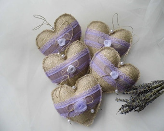 Rustic Wedding Favor, Lavender Gift Idea, Burlap And Lace Hearts, Rustic Fabric Hearts, Gift For Guests, Lavender Hearts, Set of 10
