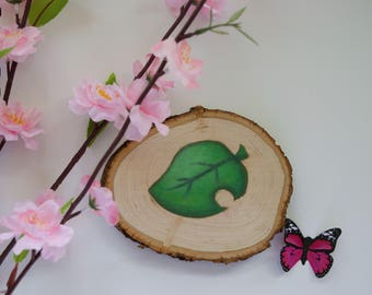 Animal Crossing New Leaf & Pocket Camp Furniture Icon | Birch Wood Slice Original Oil Painting