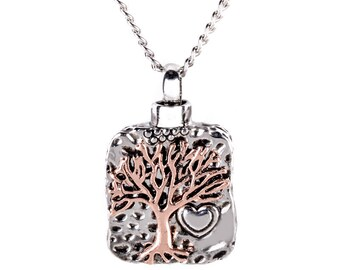 Tree of Life Ash Urn Pendant Necklace Silver Heart Plated Rose Gold Very Beautiful Keepsake
