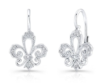14k white gold, Genuine Diamond, Lever Back Earring