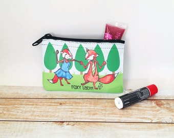 Foxy Lady Coin Purse Makeup Bag Change Pouch Foxes Dancing in the Forest Mr and Mrs Fox