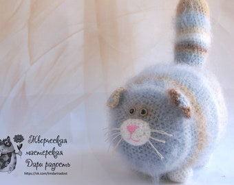 knitted cat handmade toys toy cat fluffy cat