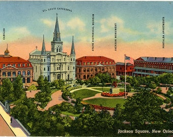 Jackson Square New Orleans Louisiana Vintage Postcard (unused)