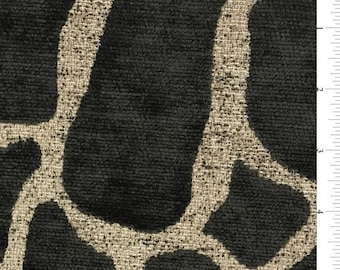 Brown Giraffe Print Chenille Home Decorating Fabric, Fabric By The Yard