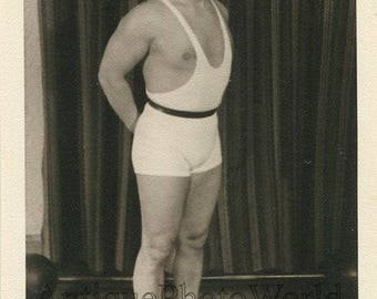 Latvia weight lifter champion posing in uniform vintage sport photo