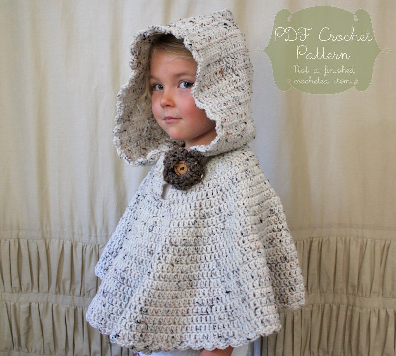 Crochet PATTERN: The River Hooded Shawl-Toddler Child & Adult