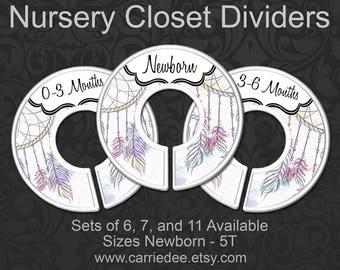 Dreamcatchers Baby Clothes Dividers, Boho Feathers & Dreamcatcher Nursery Closet Organizers, Boho Baby Decor, Closet Dividers