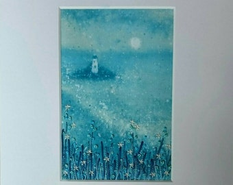 Moonrise by the Lighthouse - Small Hand Painted & Stitched Embroidery Mounted Artwork (6 inches by 4 inches)