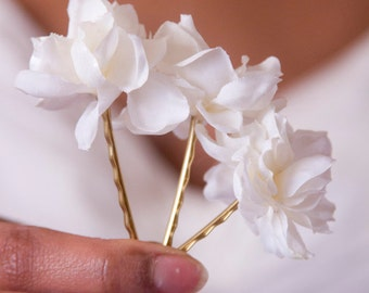 3 - Snow White Blossom Bobbies // Flower Pins for Bridesmaids, Flower Children // Luxury Hair Care Products for Thick Hair and Fine Hair