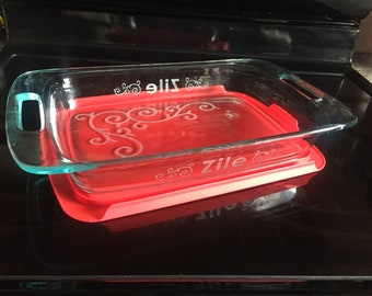 Bridal Shower Gift! Pyrex Baking Dish - 9x13 with Red Lid - Custom with Last Name