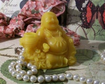 Beeswax Sitting Buddha Candle Holding Ingot And Prayer Necklace