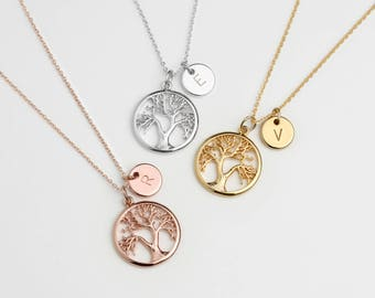 Custom Family Tree Necklace Initial Coin Disc Personalized Tree of Life Necklace Mothers Day Gift For Mom Gifts for Inlaws Jewelry - TLN-TC