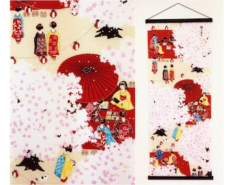 Japanese Tenugui cotton fabric Kyoto Gueixas, girl kimono fabric, kawaii fabric, wall decoration, quilt fabric, japanese curtain fabric