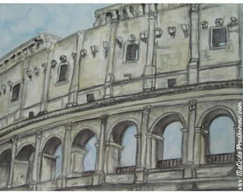 Colosseum Rome Italy - ART PRINT - 8 x 10 - By Mixed Media Artist Malinda Prudhomme