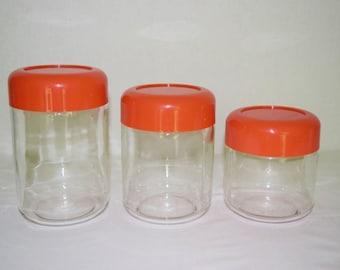 Vintage 1970's MCM Massimo Vignelli Heller Designs Set 3 Glass Orange Melamine Lid Canisters Jar