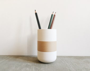 Pencil pot / Desktop organizer minimalist design printed in 3D in wood and stone / Scandinavian hygge style / Original gift