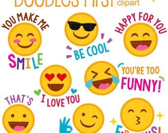 Encouraging Emojis Digital Clip Art for Scrapbooking Card Making Cupcake Toppers Paper Crafts