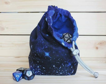 Space Dice Bag | DnD | Gaming | Tabletop | Double-sided and free standing.
