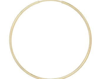 14K Yellow Gold Endless Wire Hoops/Dainty/Anniversary/Thin Hoops/Large Hoops/Birthday/Graduation