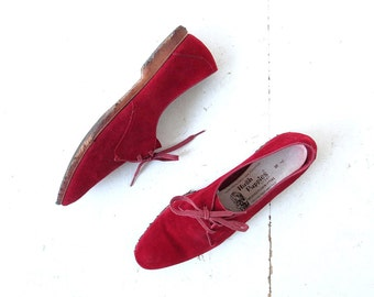 Vintage Suede Oxfords | 1960s Shoes | Rust Red | Lace Up Flats | Size 7